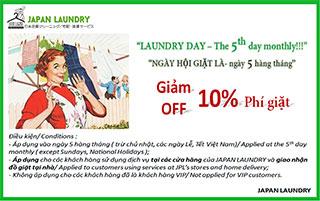 Ngày hội giặt là giảm 10% ngày 5 hàng tháng