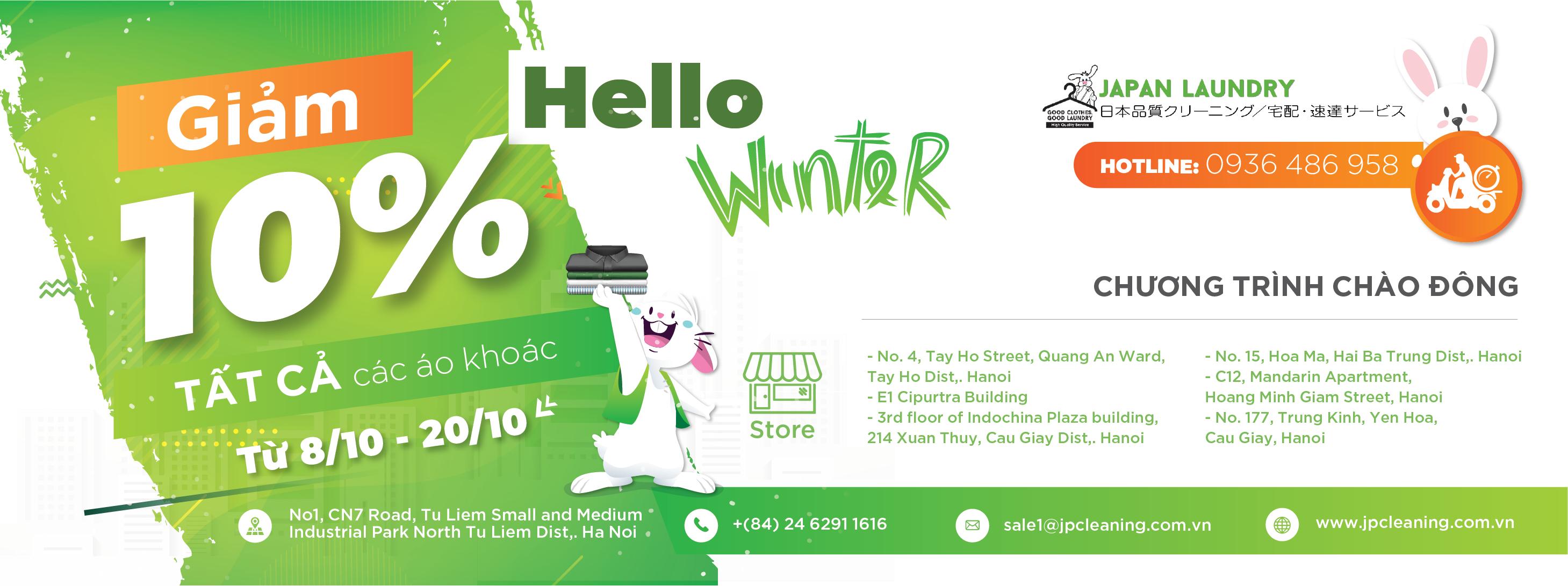 Hello Winter Giặt là Nhật Bản giảm 10% tất cả các áo khoác từ 8/10 đến 20/10