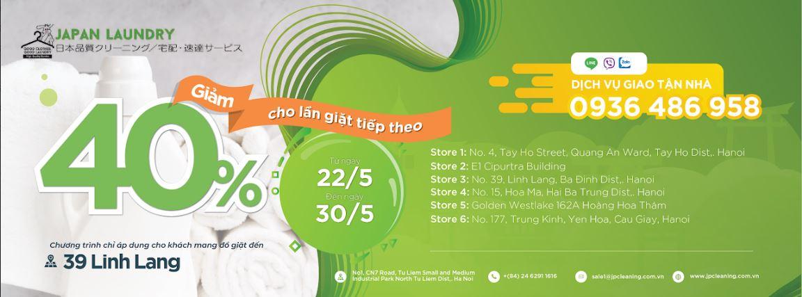 Chương trình ưu đãi tại cơ sở 39 Linh Lang : Giảm 40% cho lần giặt tiếp theo