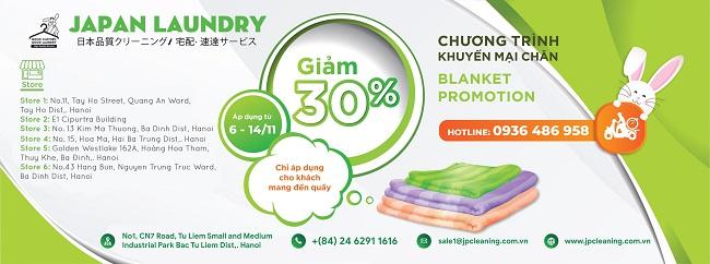Chào đón tháng 11 – Sale sốc 30% dịch vụ giặt chăn tại Japan Laundry