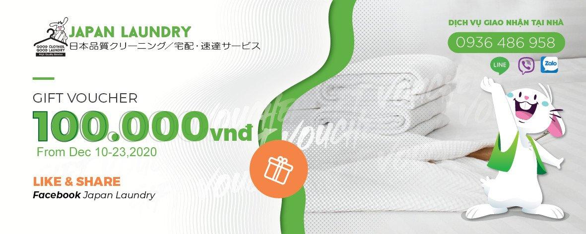 Tặng ngay voucher 100k khi sử dụng dịch vụ tại Japan Laundry