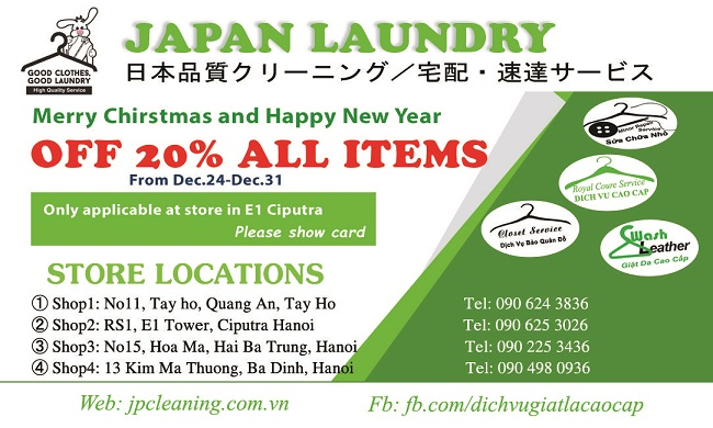 Khuyến mãi cực sốc cuối năm: Giảm giá 20% đồ giặt cho cư dân Ciputra