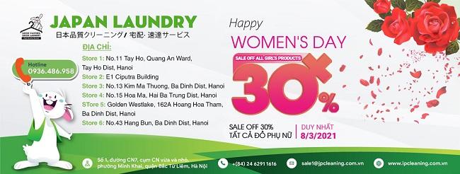 Duy nhất ngày 8/3: Giảm 30% dịch vụ giặt là tất cả đồ phụ nữ