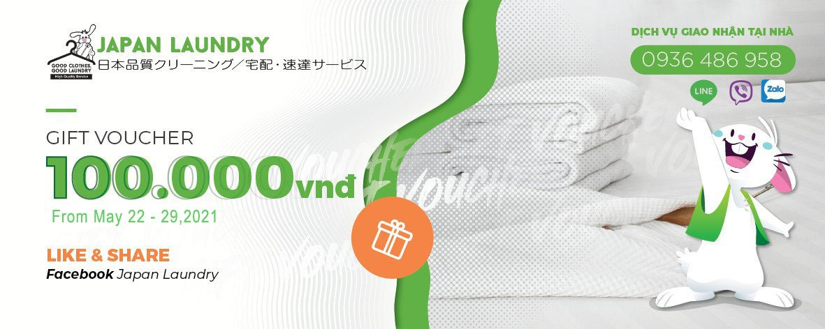JAPAN LAUNDRY THÔNG BÁO CHƯƠNG TRÌNH TẶNG VOUCHER GIẢM 100K CHO KHÁCH HÀNG